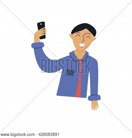 Guy Takes A Selfie. Blogger Smiles While Taking A Photo Or Video Of Himself. Colorful Vector Isolate