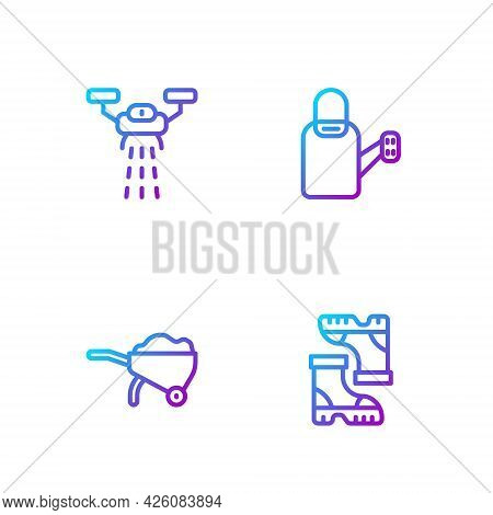 Set Line Waterproof Rubber Boot, Wheelbarrow With Dirt, Smart Farm Drone And Watering Can. Gradient