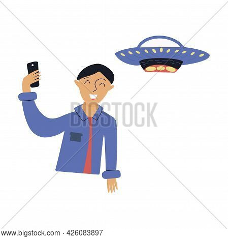 Guy Takes A Selfie Against Background Of The Ufo. Flying Saucer. Interaction Between Humans And Alie