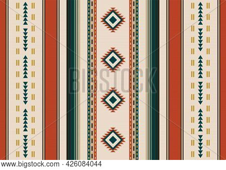 Ethnic Seamless Pattern. Geometric Background. South Western Decor. Mexican Blanket, Rug. Woven Carp