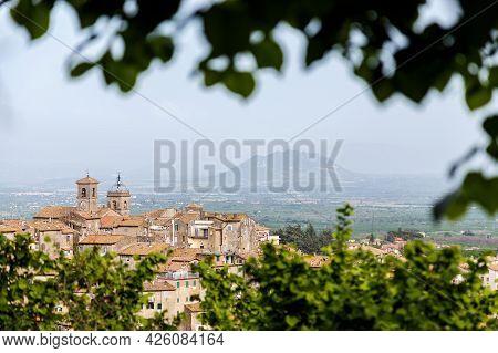 Cityscape Of Caprarola, Province Of Viterbo, Lazio, Italy. Villa Farnese Palace