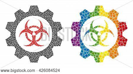 Toxic Industry Composition Icon Of Spheric Blots In Different Sizes And Spectrum Colored Shades. A D