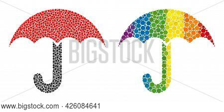 Umbrella Collage Icon Of Spheric Dots In Different Sizes And Rainbow Color Tints. A Dotted Lgbt-colo