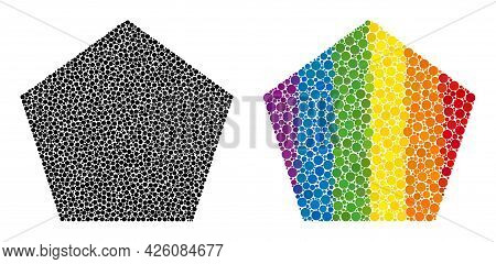 Pentagon Collage Icon Of Round Dots In Different Sizes And Spectrum Colored Shades. A Dotted Lgbt-co