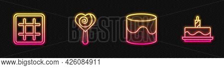 Set Line Cake, Waffle, Lollipop And With Burning Candles. Glowing Neon Icon. Vector