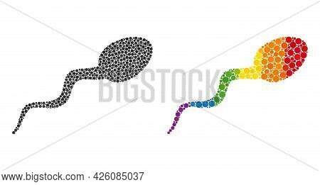 Sperm Mosaic Icon Of Spheric Blots In Variable Sizes And Rainbow Multicolored Color Tints. A Dotted