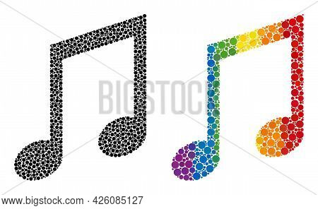 Music Notes Collage Icon Of Circle Elements In Different Sizes And Spectrum Colored Color Tinges. A