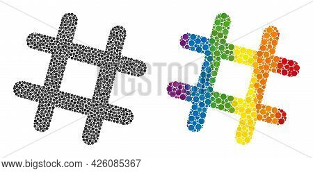 Jail Grid Composition Icon Of Circle Spots In Variable Sizes And Rainbow Colored Color Tints. A Dott