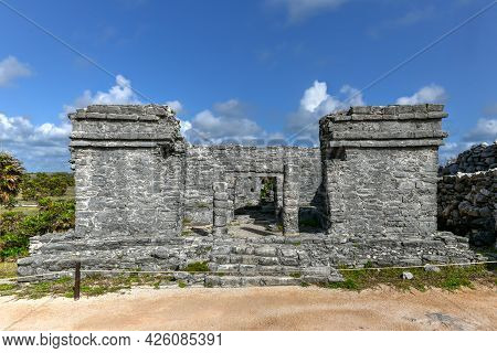 House Of The Cenote At Mayan Ruins In Tulum, Mexo. The Mayans Used Cenote Natural Wells For Their Fr
