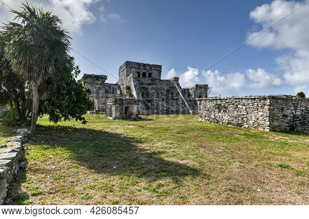 The Castle (el Castillo) In The Mayan City Archaeological Site Of Tulum, Mexico.