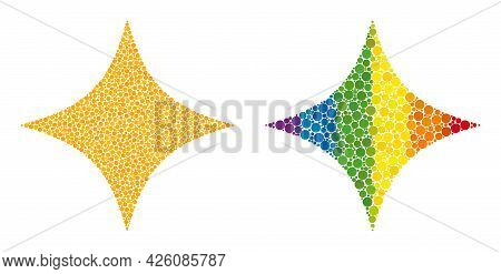 Space Star Collage Icon Of Round Dots In Various Sizes And Spectrum Colored Color Hues. A Dotted Lgb