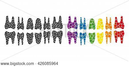 Teeth Jaw Composition Icon Of Filled Circles In Variable Sizes And Rainbow Multicolored Color Tinges