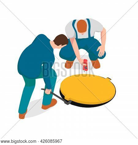Two Men Are Checking The Manhole. One Worker Is Lifting A Hatch With A Crowbar And Other Is Checking