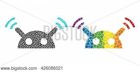Robot Radio Signal Mosaic Icon Of Round Items In Different Sizes And Rainbow Multicolored Color Tint