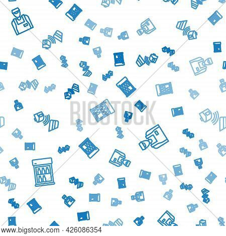 Set Line Commercial Refrigerator, Seller And Pos Terminal With Credit Card On Seamless Pattern. Vect
