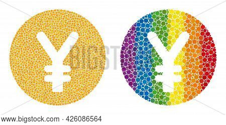 Yen Coin Mosaic Icon Of Circle Elements In Various Sizes And Rainbow Colored Color Hues. A Dotted Lg