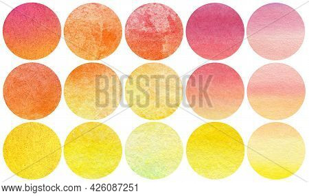 Abstract Watercolor Autumn Circles Collection In Yellow Orange Red Colors. Watercolor Stains Set Iso