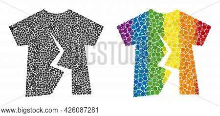 Torn T-shirt Composition Icon Of Round Items In Various Sizes And Rainbow Colored Color Hues. A Dott