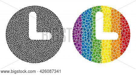 Time Composition Icon Of Circle Spots In Various Sizes And Spectrum Color Hues. A Dotted Lgbt-colore