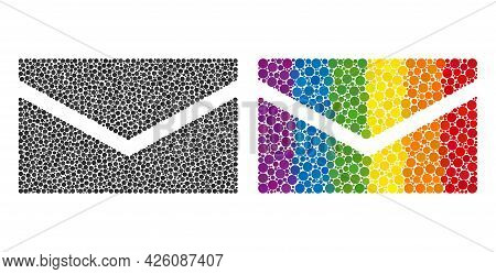 Mail Mosaic Icon Of Round Dots In Different Sizes And Rainbow Colored Color Tinges. A Dotted Lgbt-co