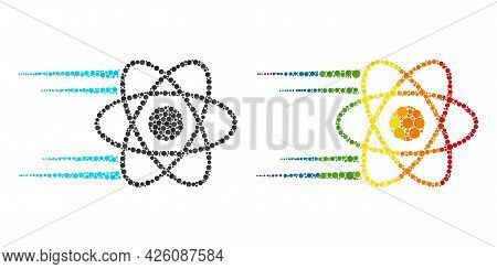 Rush Atom Composition Icon Of Spheric Dots In Various Sizes And Rainbow Colored Color Tones. A Dotte