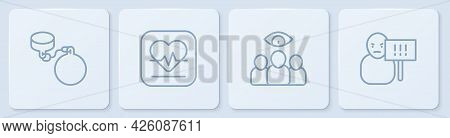 Set Line Ball On Chain, Spy, Agent, Heart Rate And Protest. White Square Button. Vector