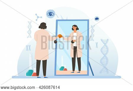 Genetic Engineering Concept. A Female Doctor Stands In Front Of A Mirror And Makes Modifications To