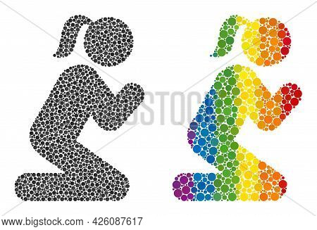 Praying Girl Composition Icon Of Spheric Dots In Different Sizes And Rainbow Color Hues. A Dotted Lg