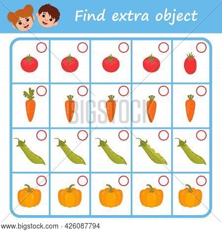 Education Logic Game For Preschool Kids. Find Extra Object In Sequence Row. Vegetables. Vector Illus
