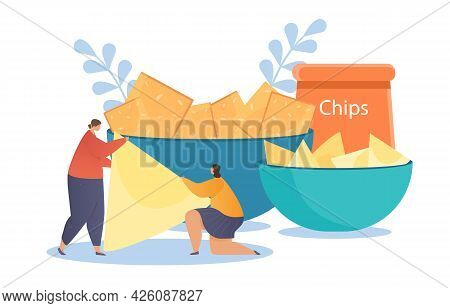 People Character Eat Snack Food. Two Women Hold Chips In Their Hands Against The Background Of Bowls