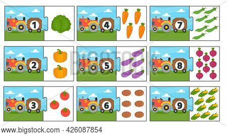 Education Match Game For Kids. Counting From 1 To 9. Count The Vegetables In The Tractor. Collection