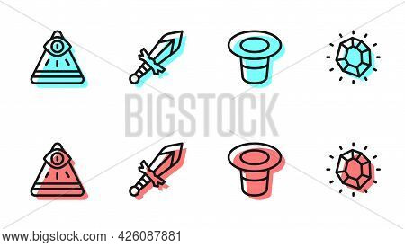 Set Line Magic Hat, Masons, Medieval Sword And Stone Icon. Vector
