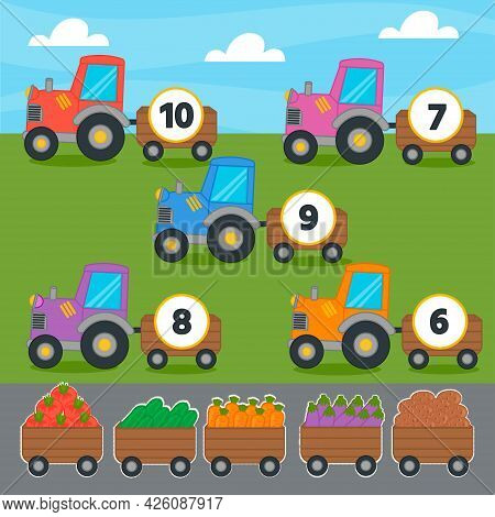Education Match Game For Kids. Count The Vegetables In The Tractor. Cut And Glue Correct Answer. Col