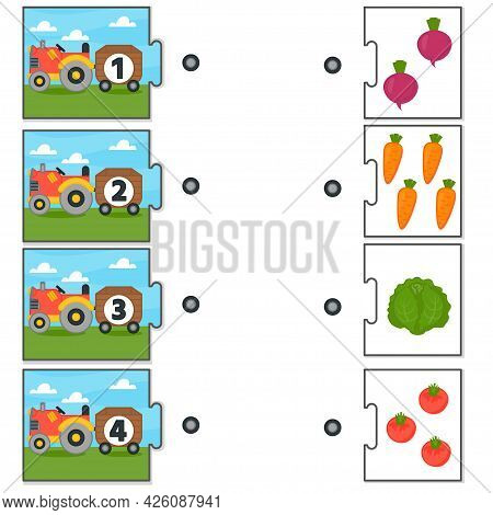 Education Match Game For Kids. Counting From 1 To 4. Count The Vegetables In The Tractor. Collection