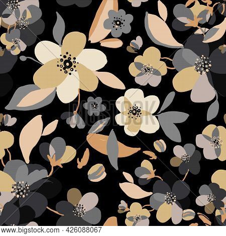 Watercolor Drawn Gold And Grey Floral Pattern. Seamless Natural Texture With Blossom Cherry Tree Bra