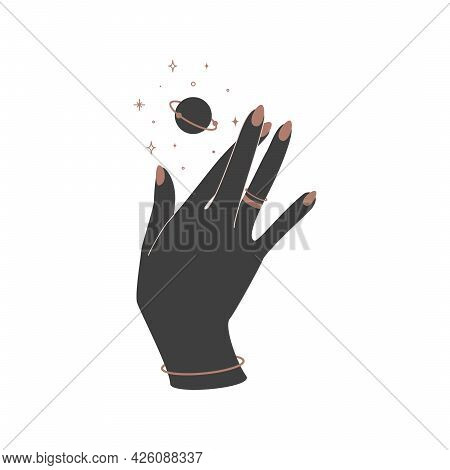 Alchemy Esoteric Mystical Magic Celestial Talisman With Woman Hand With Rings And Planet Sacred Geom