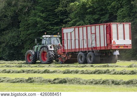 Picking Up Dried Grass For Silage With A Green Tractor And Red Loader Wagon In The Netherlands