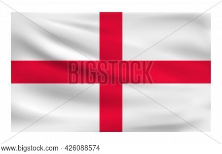 Realistic National Flag Of England. Current State Flag Made Of Fabric. Vector Illustration Of Lying