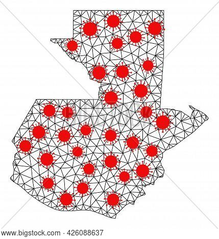 Network Polygonal Map Of Guatemala Under Outbreak. Vector Model Is Created From Map Of Guatemala Wit