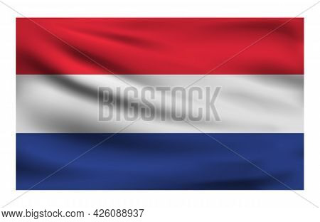 Realistic National Flag Of Netherlands. Current State Flag Made Of Fabric. Vector Illustration Of Ly