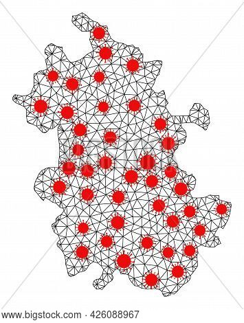 Wire Frame Polygonal Map Of Anhui Province Under Infection. Vector Structure Is Created From Map Of