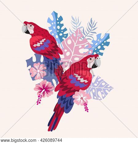 Beautiful Exotic Tropical Parrot Bird With  Tropical Flowers, Colorful Exotic Leaves, Plants  Art  M