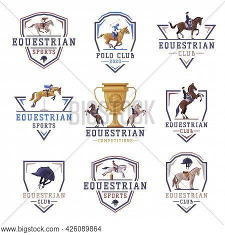 Equestrian Sports Logo Design Set, Jockey Racing With Thoroughbred Horse, Derby, Tournament Label, E
