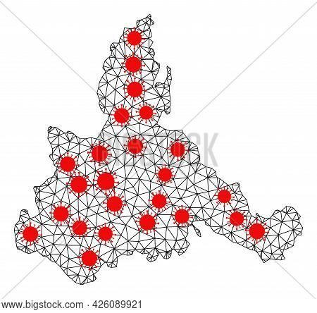 Wire Frame Polygonal Map Of Zaragoza Province Under Infection. Vector Model Is Created From Map Of Z