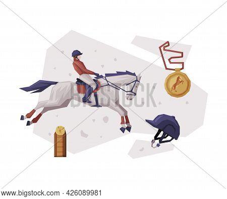 Jockey Jumping On Racing Horse, Equestrian Sport Equipment Vector Illustration