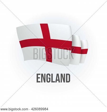 Vector Flag Of England. English Waving Flag. Vector Illustration.