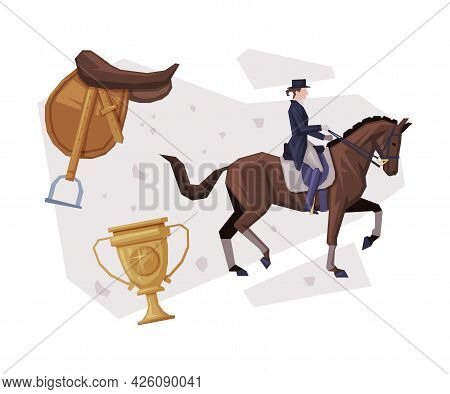 Man Rider Competing In Dressage, Equestrian Sport Equipment, Saddle, Winner Cup Vector Illustration