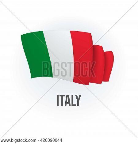 Vector Flag Of Italy. Italian Waving Flag. Vector Illustration.