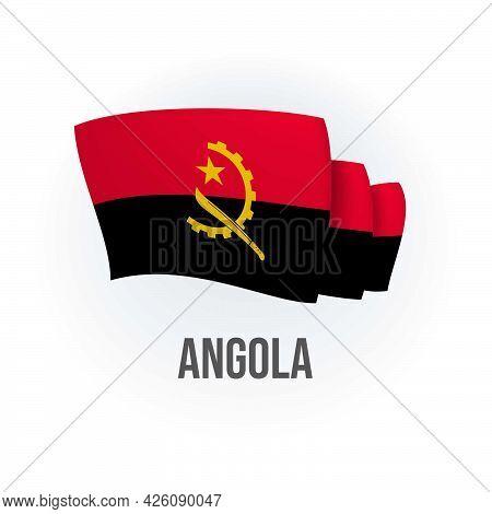Vector Flag Of Angola. Angolan Waving Flag. Vector Illustration.
