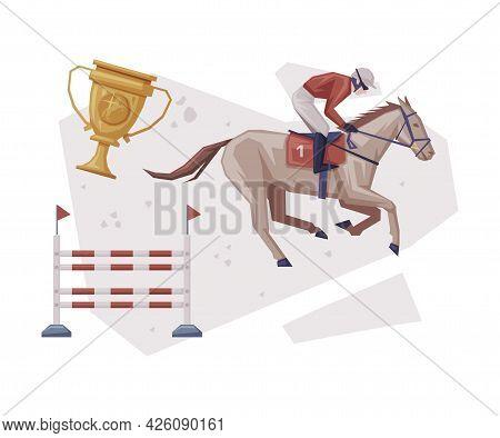 Jockey Jumping On Racing Horse Overcoming Of Obstacles, Equestrian Sport Equipment Vector Illustrati